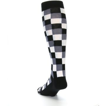 Image of Black White Checker Men's Over-the-Calf Dress Socks (side-2-back-16)