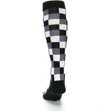 Image of Black White Checker Men's Over-the-Calf Dress Socks (back-17)