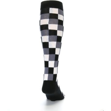 Image of Black White Checker Men's Over-the-Calf Dress Socks (back-19)