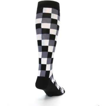 Image of Black White Checker Men's Over-the-Calf Dress Socks (side-1-back-20)