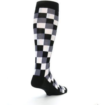 Image of Black White Checker Men's Over-the-Calf Dress Socks (side-1-back-21)