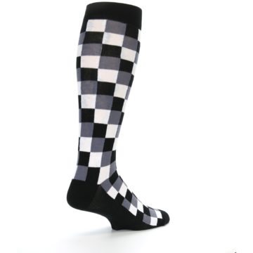 Image of Black White Checker Men's Over-the-Calf Dress Socks (side-1-back-22)