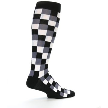 Image of Black White Checker Men's Over-the-Calf Dress Socks (side-1-23)