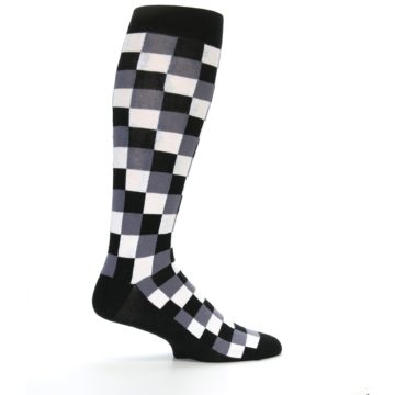 Image of Black White Checker Men's Over-the-Calf Dress Socks (side-1-24)