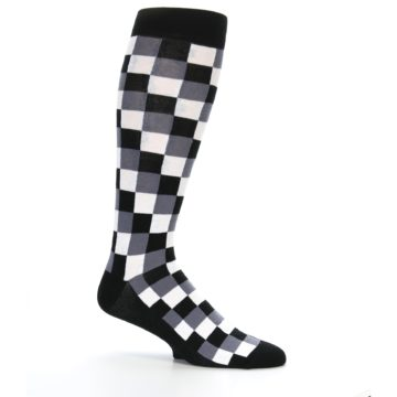 Image of Black White Checker Men's Over-the-Calf Dress Socks (side-1-25)
