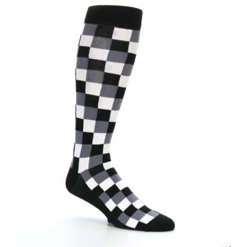Image of Black White Checker Men's Over-the-Calf Dress Socks (side-1-26)