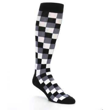 Image of Black White Checker Men's Over-the-Calf Dress Socks (side-1-27)