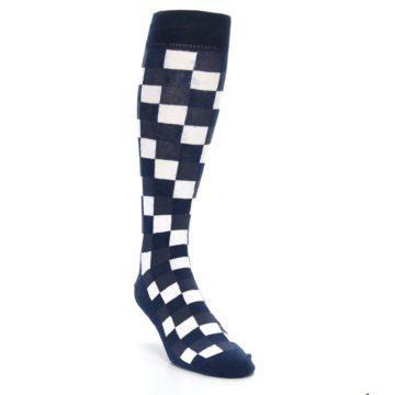 Image of Navy White Checker Men's Over-the-Calf Dress Socks (side-1-front-02)