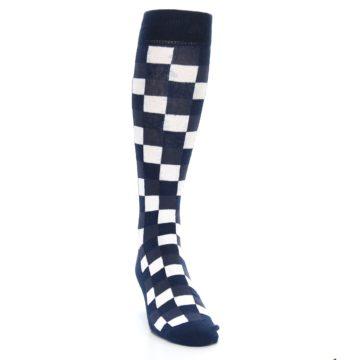 Image of Navy White Checker Men's Over-the-Calf Dress Socks (side-1-front-03)