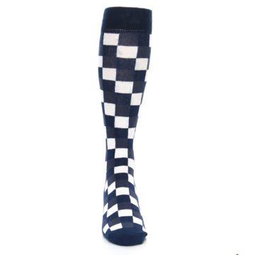 Image of Navy White Checker Men's Over-the-Calf Dress Socks (front-04)