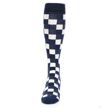 Image of Navy White Checker Men's Over-the-Calf Dress Socks (front-05)