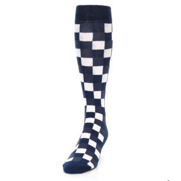 Image of Navy White Checker Men's Over-the-Calf Dress Socks (side-2-front-06)
