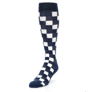 Image of Navy White Checker Men's Over-the-Calf Dress Socks (side-2-front-07)