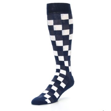 Image of Navy White Checker Men's Over-the-Calf Dress Socks (side-2-front-08)