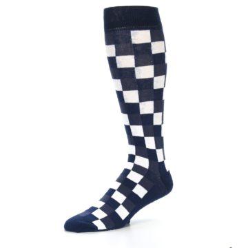 Image of Navy White Checker Men's Over-the-Calf Dress Socks (side-2-09)