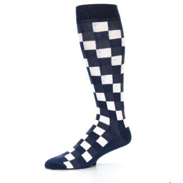 Image of Navy White Checker Men's Over-the-Calf Dress Socks (side-2-10)
