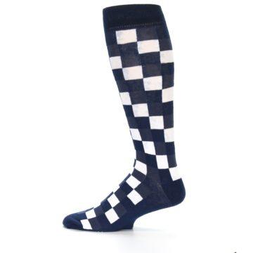 Image of Navy White Checker Men's Over-the-Calf Dress Socks (side-2-12)