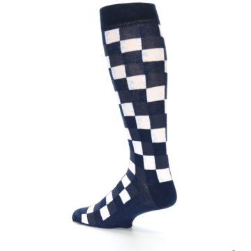 Image of Navy White Checker Men's Over-the-Calf Dress Socks (side-2-back-14)