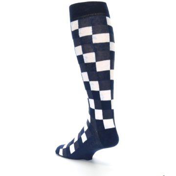 Image of Navy White Checker Men's Over-the-Calf Dress Socks (side-2-back-15)