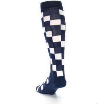 Image of Navy White Checker Men's Over-the-Calf Dress Socks (side-2-back-16)