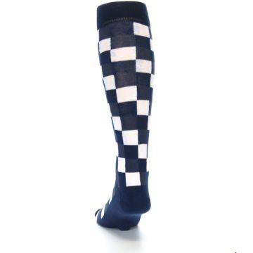 Image of Navy White Checker Men's Over-the-Calf Dress Socks (back-17)