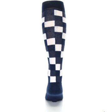Image of Navy White Checker Men's Over-the-Calf Dress Socks (back-18)