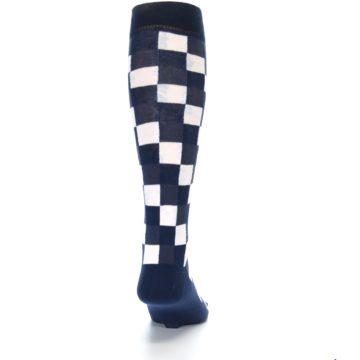 Image of Navy White Checker Men's Over-the-Calf Dress Socks (back-19)