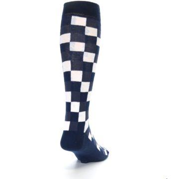Image of Navy White Checker Men's Over-the-Calf Dress Socks (side-1-back-20)