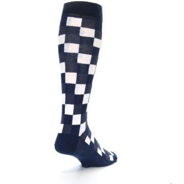 Image of Navy White Checker Men's Over-the-Calf Dress Socks (side-1-back-21)
