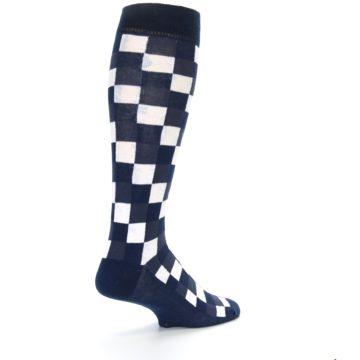 Image of Navy White Checker Men's Over-the-Calf Dress Socks (side-1-back-22)