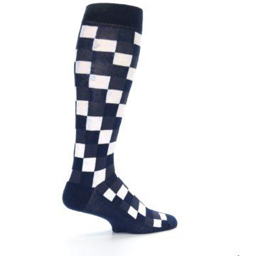 Image of Navy White Checker Men's Over-the-Calf Dress Socks (side-1-23)