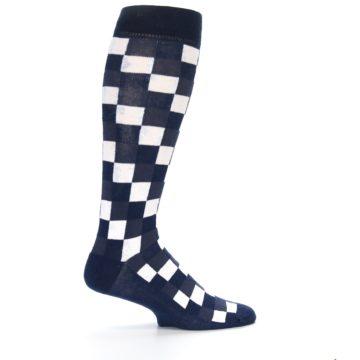 Image of Navy White Checker Men's Over-the-Calf Dress Socks (side-1-24)