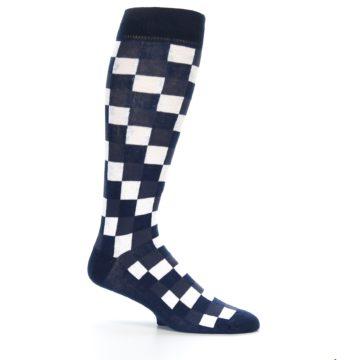 Image of Navy White Checker Men's Over-the-Calf Dress Socks (side-1-25)