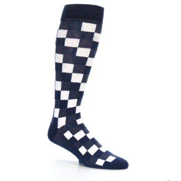 Image of Navy White Checker Men's Over-the-Calf Dress Socks (side-1-26)