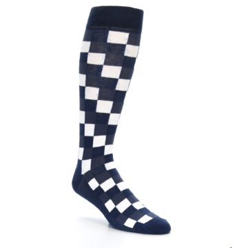 Image of Navy White Checker Men's Over-the-Calf Dress Socks (side-1-27)