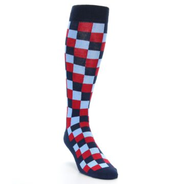 Image of Navy Red Checker Men's Over-the-Calf Dress Socks (side-1-front-02)