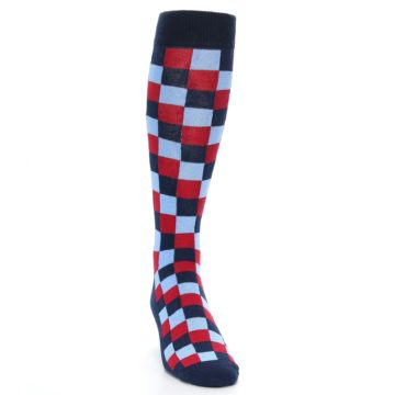Image of Navy Red Checker Men's Over-the-Calf Dress Socks (side-1-front-03)