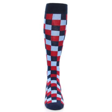 Image of Navy Red Checker Men's Over-the-Calf Dress Socks (front-04)