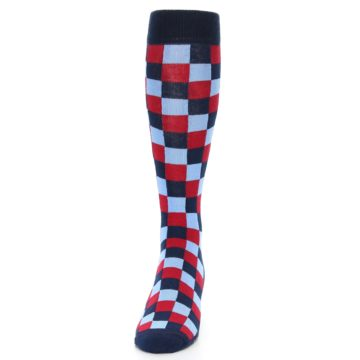 Image of Navy Red Checker Men's Over-the-Calf Dress Socks (front-05)