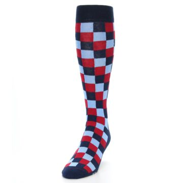 Image of Navy Red Checker Men's Over-the-Calf Dress Socks (side-2-front-06)