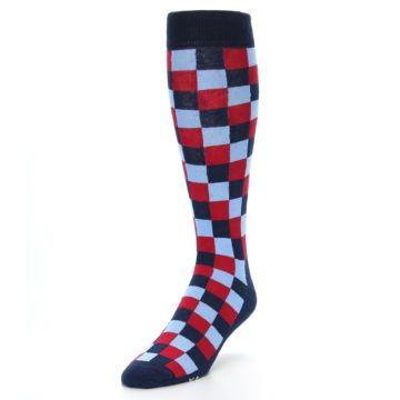 Image of Navy Red Checker Men's Over-the-Calf Dress Socks (side-2-front-07)