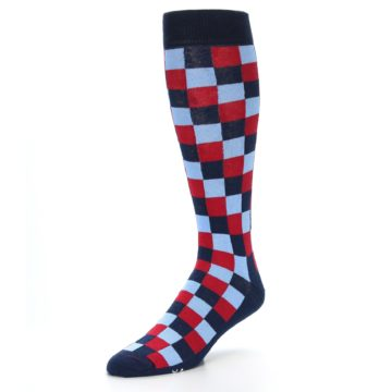Image of Navy Red Checker Men's Over-the-Calf Dress Socks (side-2-front-08)