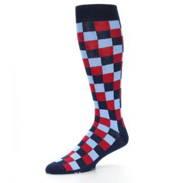Image of Navy Red Checker Men's Over-the-Calf Dress Socks (side-2-09)