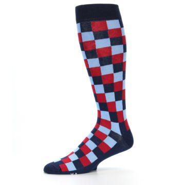 Image of Navy Red Checker Men's Over-the-Calf Dress Socks (side-2-10)
