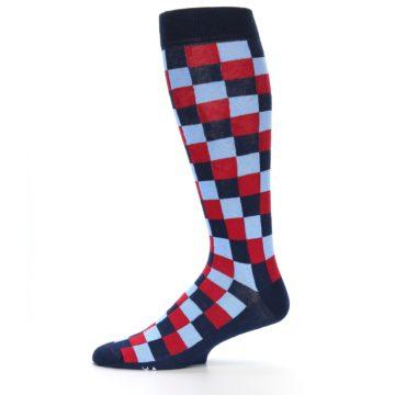 Image of Navy Red Checker Men's Over-the-Calf Dress Socks (side-2-11)