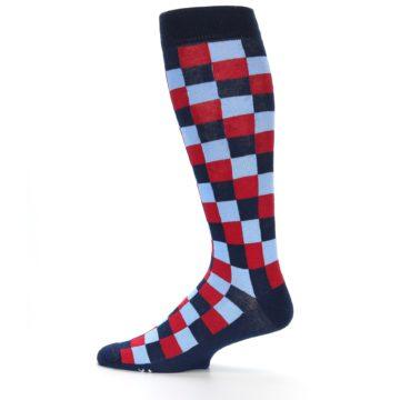 Image of Navy Red Checker Men's Over-the-Calf Dress Socks (side-2-12)