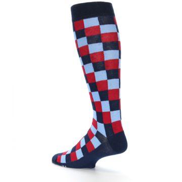 Image of Navy Red Checker Men's Over-the-Calf Dress Socks (side-2-back-14)