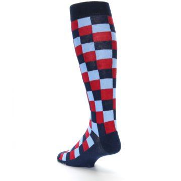 Image of Navy Red Checker Men's Over-the-Calf Dress Socks (side-2-back-15)