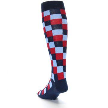 Image of Navy Red Checker Men's Over-the-Calf Dress Socks (side-2-back-16)