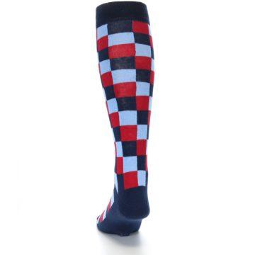 Image of Navy Red Checker Men's Over-the-Calf Dress Socks (back-17)